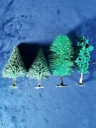 Set Of 4 Model Train Table Top Gaming Landscape Trees 2 - 4 1/2 Pines Free Ship