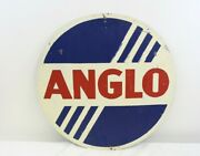 Vintage 22 Anglo Oil Painted Tin Sign Brandon British American Oil Advertising