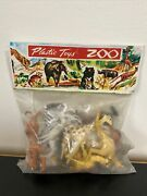 Vintage Zoo Animals Plastic Figures Toys New Old Stock Nos Hong Kong Sealed