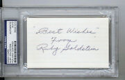Ruby Goldstein Auto Autograph Index Card Psa Dna Hof Hall Fame Boxer Boxing