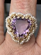Antique Vintage 1950andrsquos 14k Gold Ornate Bezel Set Amethyst Seed Pearl Heart Ring