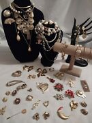 Estate Todays Fashion Costume And Vintage Jewelry Lot 55+ Pc Many Signed