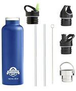 Vacuum Insulated Double Walled Drinking Bottle Water Blue 25oz Leakproof 4 Tops