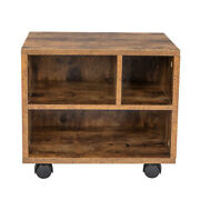 Three Grids With 4 Wheels Mdf With Pvc Wooden Filing Cabinet Antique Wood Color