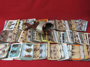 Lot Of 100+ Vintage Antique 1800's-1900's Stereo Cards With Card Viewer