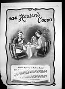 Original Old Antique Print Van Houtens Cocoa Family Seated Breakfast Table 1903