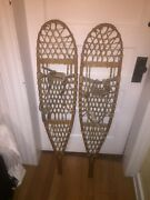 Set Vintage Early Tubbs Wallingford Vt Wooden Snowshoes 200 10x46