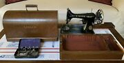 Antique Singer Sewing Machine In Dome Carry Case + Small Steel Case Old Vintage