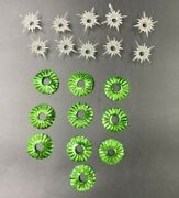 10 Vintage Christmas Light Green Foil Reflectors And Clear Plastic Star Covers