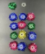 13 Vintage Christmas Light Garland Foil Reflectors And Clear Plastic Star Covers