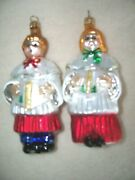 Christopher Radko Sing We Now Choir Boy And Girl Christmas Ornaments - Set Of