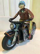 1950's Modern Toys Motorcycle Rider Tin Battery-operated Toy Japan