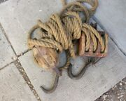 Antique Large Size Vintage Wood Block And Tackle With Old Rope -2