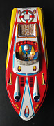 1950and039s Large Tin L Itho Toy Boat Andldquoold New Stock Made In Japan Lucky Toy