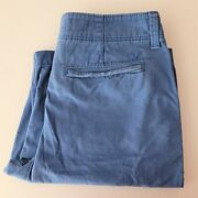 American Eagle Distressed Long Board Shorts Blue Vintage Fade Wash Size 32