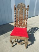 Antique Carved Jacobean Chair High Back High Relief Carving Wood
