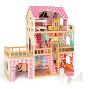 Large Kid's Wooden Dollhouse Dreamy Family Doll House Balcony W/furniture
