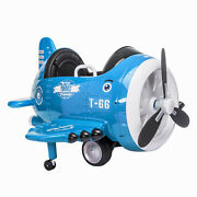 Electric Toy 12v Kids Plane Car Toddler Aircraft Baby Carriage W/remote Mp3 Blue