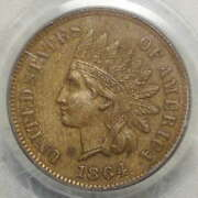 1864-l Indian Cent, Pcgs Au-58, Old Holder, Ogh, Repunched Date, Snow-11