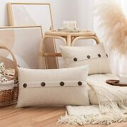 Pack Of 2 Burlap Linen Throw Pillow Covers With Buttons Rustic Farmhouse Decora