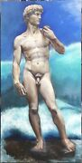 Superb Extra Large Original Oil On Canvas, Male Nude , David, Boy, Hand Made