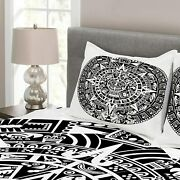 Lunarable Aztec Bedspread, Mayan Calendar End Of The World Prophecy Mystery Cool