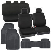 Full Car Seat Covers+5 Headrests With Rubber Floor Mats Black Interior Kit⭐⭐⭐⭐⭐