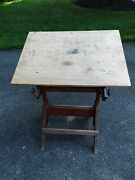 Antique/vintage Hamilton Wood And Cast Iron Drafting Table