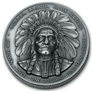 Sioux Nation 2021 - Sitting Bull - 1 Silver Coin Antique 1 Oz With Box