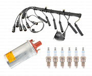Ignition Coil + Spark Plugs + Wires Kit Bosch For Bmw E30 325i 325is 325ix