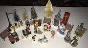 Lemax Christmas Village Figurines And Accessories Trees Benches Lot Of 23