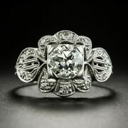 Antique Late Art Deco Engagement Vintage Ring 1.4 Ct Diamond 14k White Gold Over
