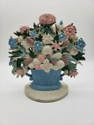 Vintage Cast Iron Flowers In A Basket Door Stop Multicolored Large 7 1/2 Tall
