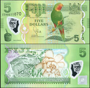 Fiji 5 Dollars. Nd 2013 Polymer Unc Replacement. Banknote Cat P.115a