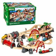 World 33052 Deluxe   Wooden Toy Train Set For Kids Age 3 And Up, Railway Set