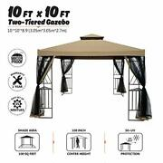 10x10 Ft Outdoor Gazebo Steel Frame Two-tiered Top Canopy X Shape Decor