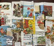 Vintage 70and039s 80and039s Lot 16 Cloth Calendar Kitchen Dish Towels Linen Wall Hanging