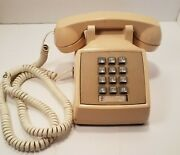Vintage Push Button Desk Telephone Phone Beige Atandt Western Electric Working