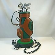 Vintage Exclusive Leather Golf Bag Phone Corded Land Line Telephone