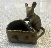 Vintage Solid Bronze Mouse Rat Swiss Cheese Figure Trinket Holder Dish Patina