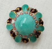 Stunning Limoges Signed Mg Enamel Art Glass Dome Cabochon Flower Brooch Pin