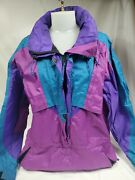 Vintage Rei Elements Womens Size 14 Purple And Tourquoise Pull-over Rain Jacket