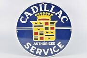 Vintage Edition Cadillac Service Ande Rooney Porcelain Enameled Advertising Sign