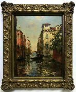 Oil Painting Antique C.1900 Canal In Venice French Post-impressionist Signed