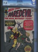 Cgc 7.5 Daredevil 4 1st Appearance Killgrave The Purple Man O/w To White Pages