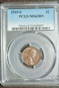 1925-s Lincoln Cent- Pcgs Ms63bn