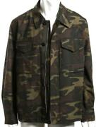 Tom Ford Mens Green Print Camouflage Field Jacket Coat Zip And Button Front New 54