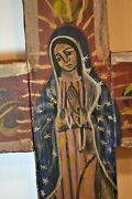 Large 27.5 Antique Early 19c Wood Handpainted Cross Mary Our Lady Of Guadalupe
