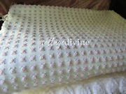 Gorgeous Miniature Pink Rosebuds White Vintage Chenille Bedspread, Twin