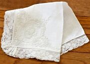 Vintage French Hand Embroidered Bridal Handkerchief Hankie Wedding Bands And Lace